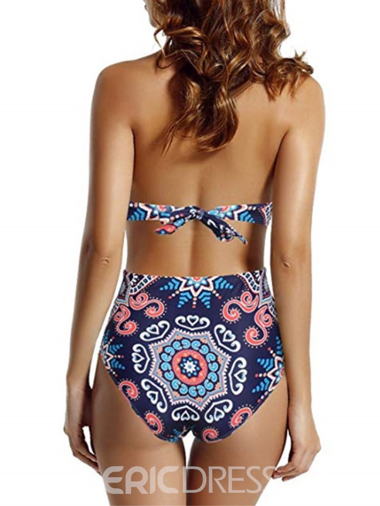Ericdress One Piece V-Neck Color Block Lace-Up Sexy Swimwear