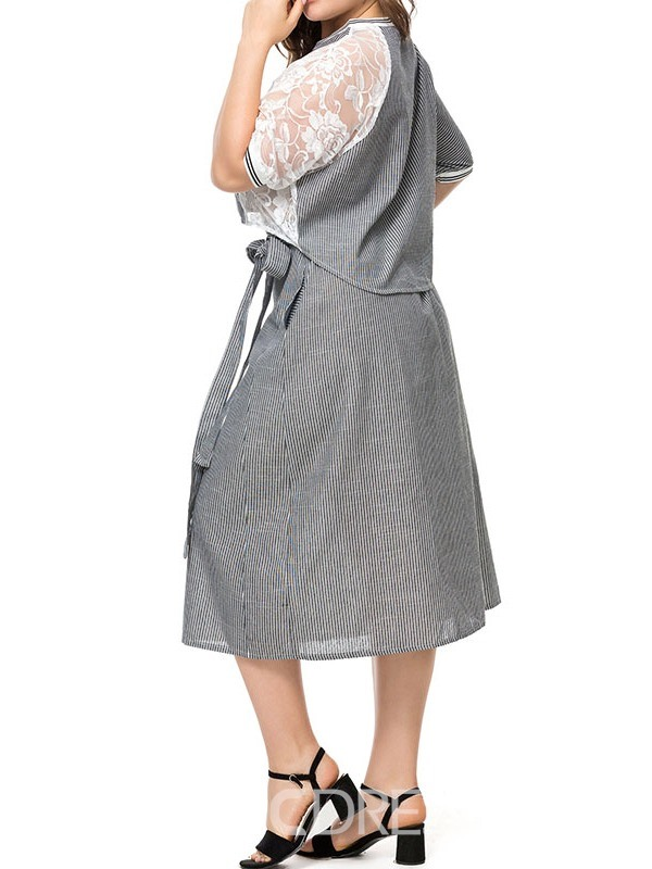 Ericdress Plus Size Bowknot Round Neck A-Line T-Shirt And Skirt Two Piece Sets