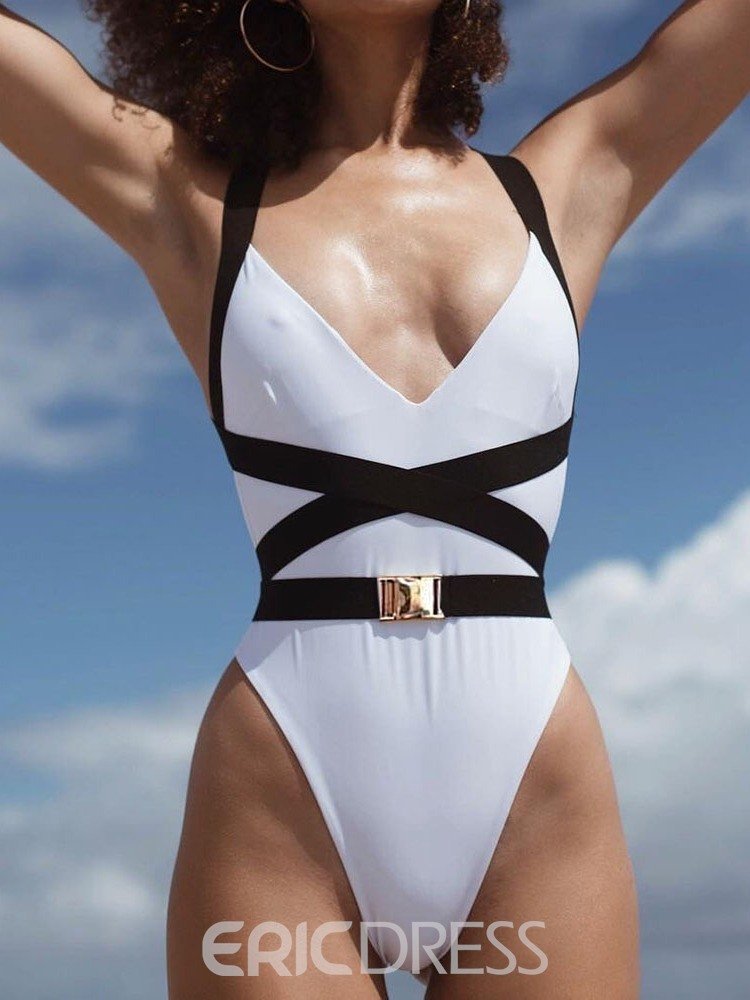 Ericdress One Piece Color Block Patchwork Stretchy Swimwear