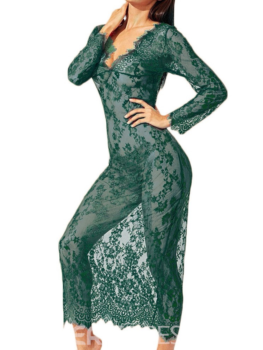 Ericdress V-Neck Floral See-Through Long Sleeve Lace Dresse