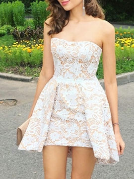 Ericdress Sheath Sleeveless Short Lace Homecoming Dress