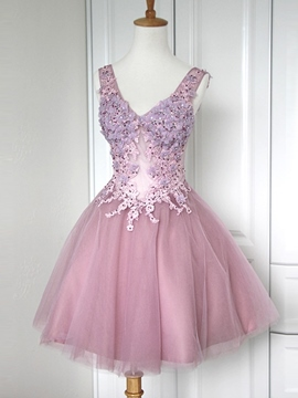 Ericdress V-Neck A-Line Short Beading Homecoming Dress