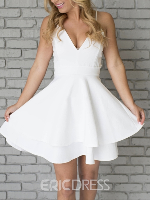 Ericdress A-Line Short Lace Spaghetti Straps Homecoming Dress