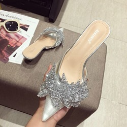 Ericdress Rhinestone Slip-On Pointed Toe Womens Mules Shoes фото