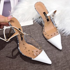 Ericdress Rivet PVC Stiletto Heel Pointed Toe Color Block Women's Sandals