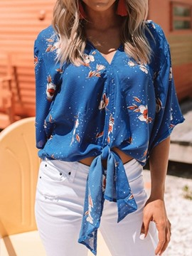 Ericdress Print V-Neck Floral Lace-Up Casual Blouse