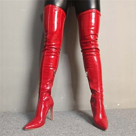 Ericdress PU Pointed Toe Side Zipper Women's Thigh High Boots
