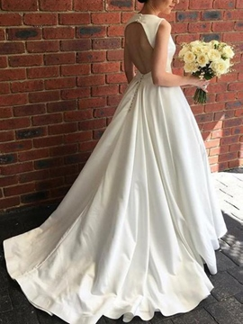 Ericdress V-Neck Button Backless Wedding Dress 2019