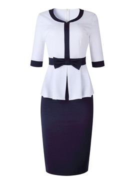 Ericdress Bowknot Color Block Bodycon Skirt And T-Shirt Two Piece Sets