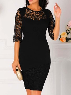 Ericdress Round Neck Lace Patchwork Above Knee Hollow OL Bodycon Dress