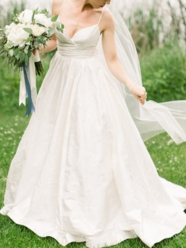 Ericdress A-Line Spaghetti Straps Bowknot Wedding Dress