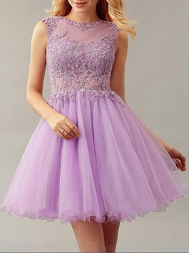 Ericdress Sleeveless A-Line Short Appliques Homecoming Dress