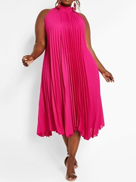 Ericdress Plus Size Pleated Stand Collar Plain Casual Dress