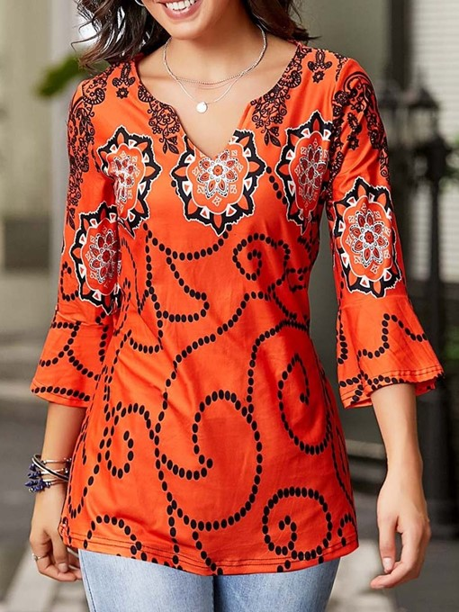 Ericdress V-Neck Floral Flare Sleeve Casual T-Shirt