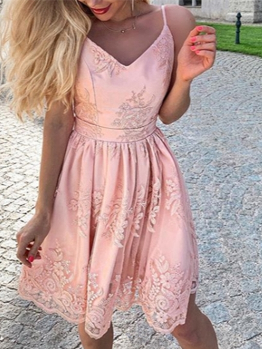 Ericdress Appliques A-Line Sleeveless Spaghetti Straps Homecoming Dress
