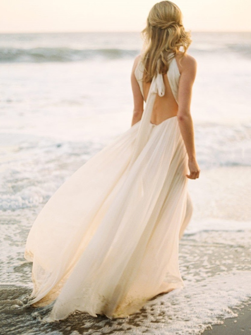 Ericdress Halter Backless Beach Wedding Dress 2019