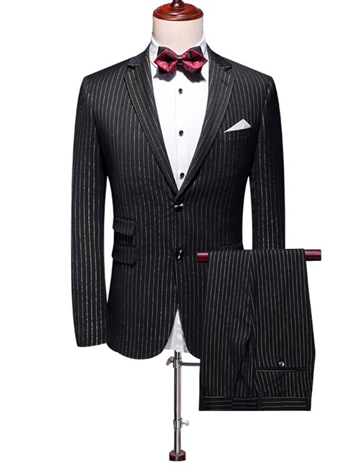 Ericdress Color Block Print Single-Breasted Men's Dress Suit