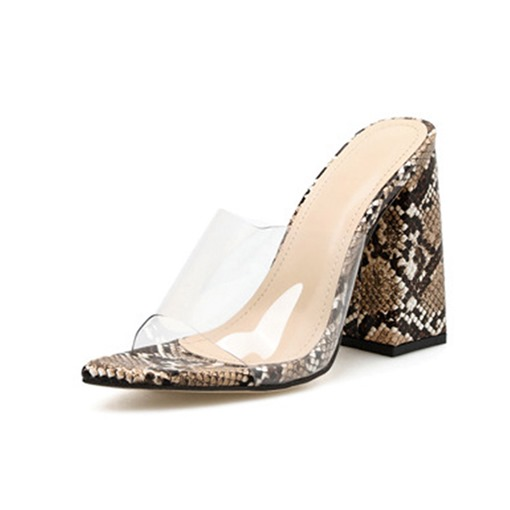 Ericdress PVC Color Block Slip-On Chunky Heel Women's Mules Shoes