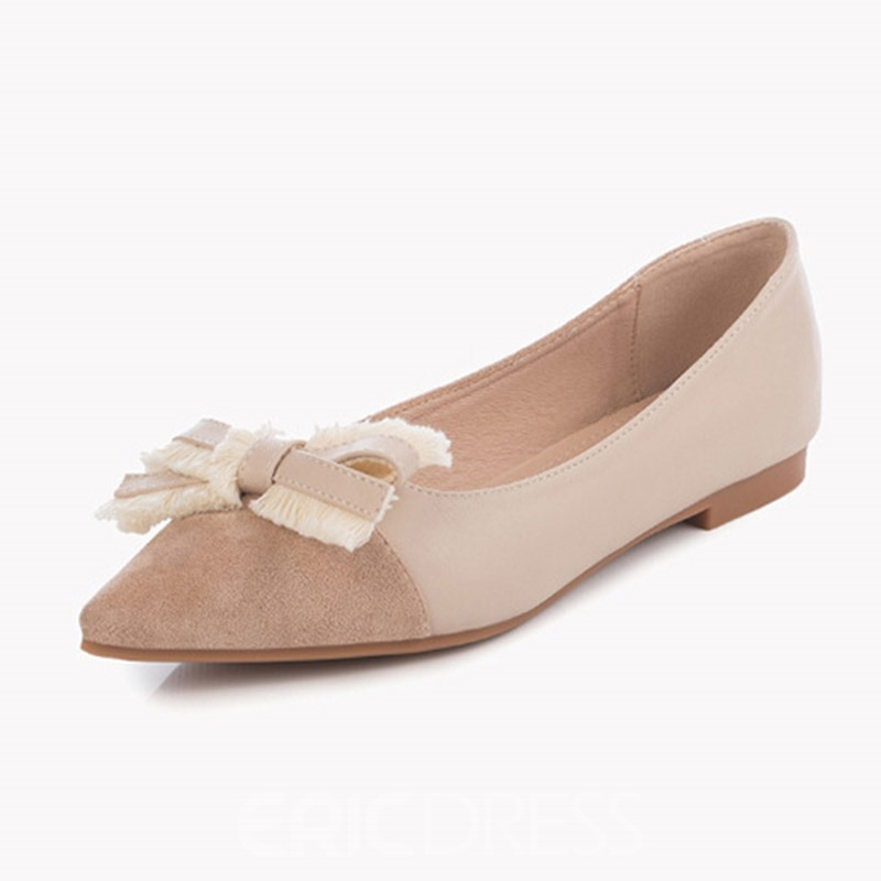 Ericdress Faux Suede Slip-On Pointed Toe Sweet Women's Flats
