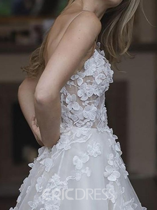 Ericdress 3d Floral Sweetheart Hall Wedding Dress