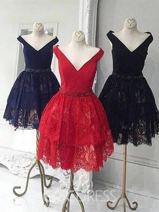 Ericdress Knee-Length Off-The-Shoulder Lace A-Line Homecoming Dress