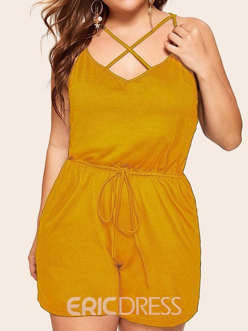Ericdress Plain Lace-Up Fashion Loose High Waist Jumpsuit