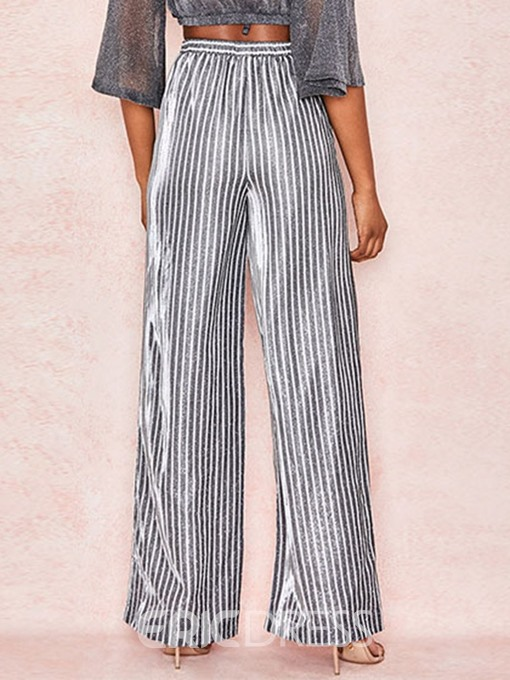 Ericdress Stripe Loose Wide Legs Full Length Casual Pants