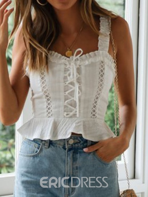 Ericdress Pleated Lace-Up Summer Punk Short Tank Top