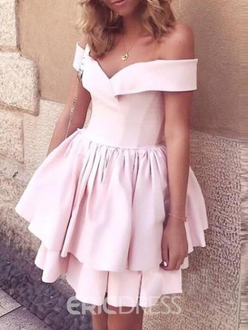 Ericdress Off-The-Shoulder Sleeveless A-Line Ruched Homecoming Dress
