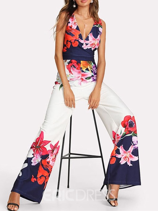 Ericdress Print Full Length Floral High Waist Loose Jumpsuit
