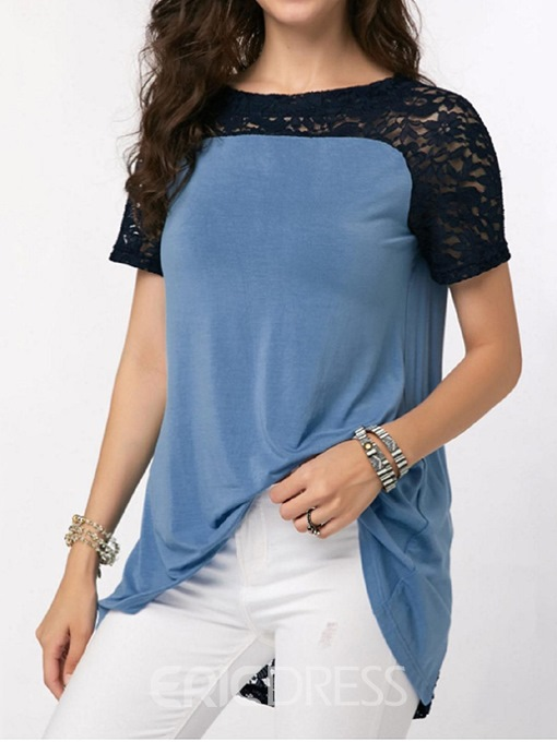 Ericdress Round Neck Short Sleeve Patchwork Lace Slim T-Shirt