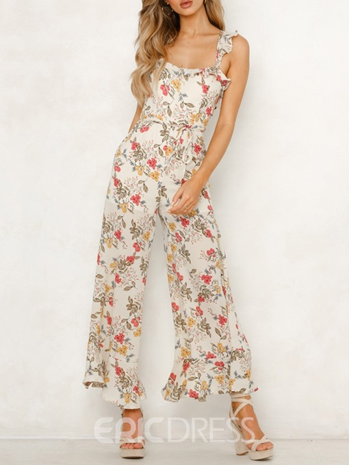Ericdress Floral Strap Travel Look Loose High Waist Jumpsuit