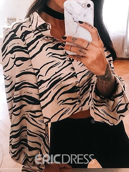 Ericdress Zebra Stripe Button Lapel Lantern Sleeve Short Blouse