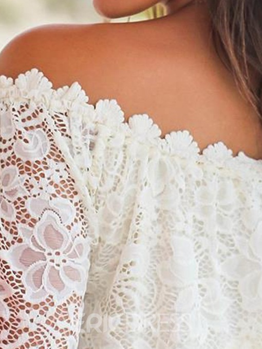Ericdress Off Shoulder Lace Standard Flare Sleeve Sexy Blouse