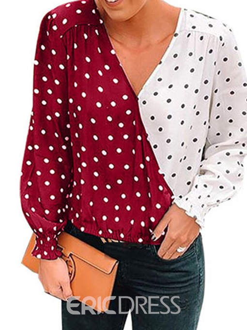 Ericdress V-Neck Polka Dots Color Block Lantern Sleeve Casual Blouse