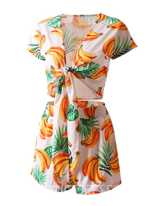 Ericdress Print Travel Look Plant Lace-Up T-Shirt And Shorts Two Piece Sets