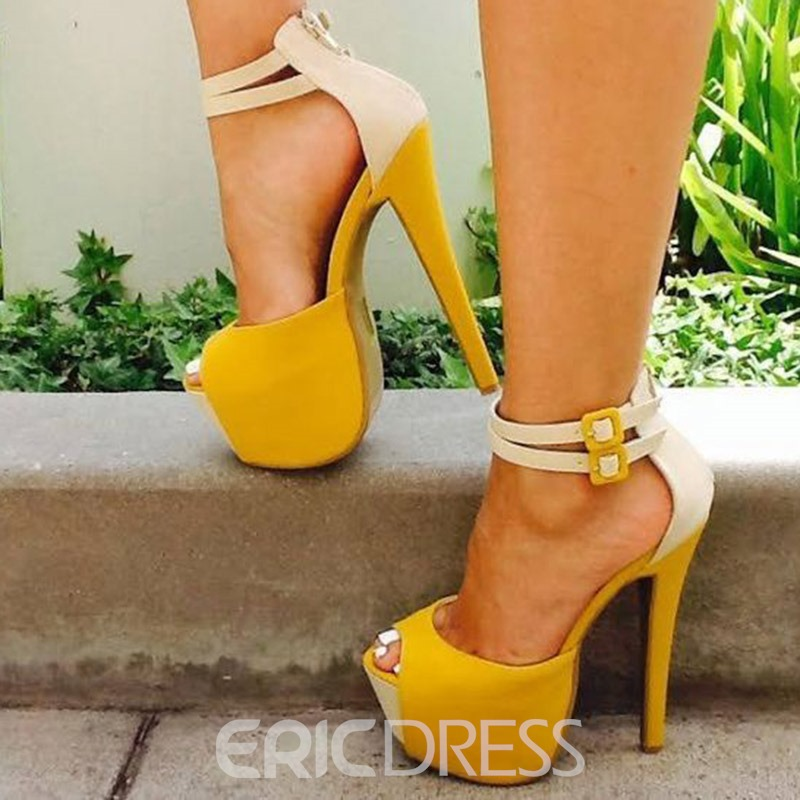 Ericdress Color Block Zipper Peep Toe Platform Women's Prom Shoes