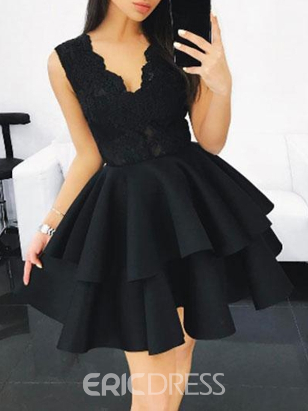Ericdress Sleeveless Short V-Neck A-Line Homecoming Dress