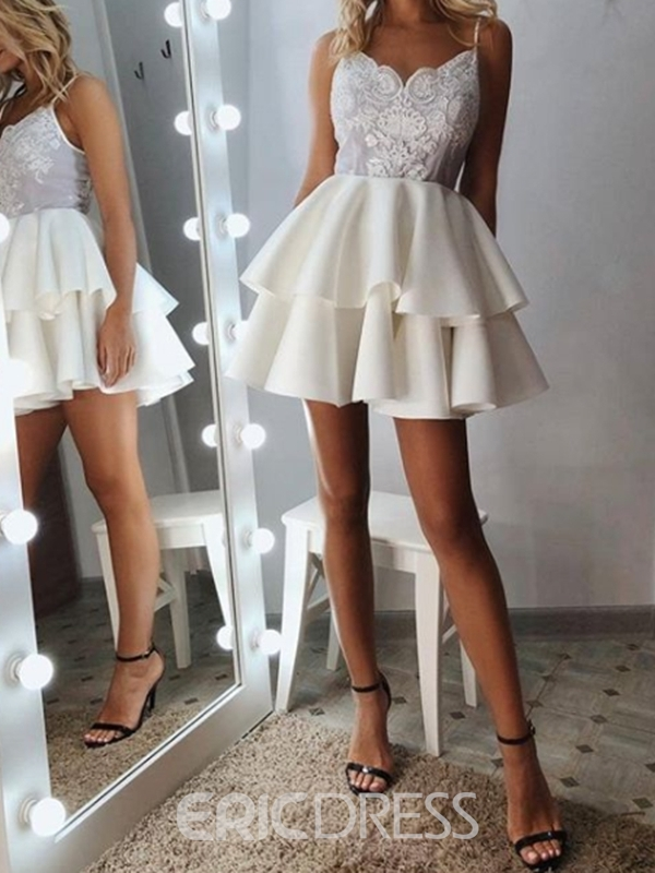Ericdress Sleeveless Spaghetti Straps Short Appliques Homecoming Dress