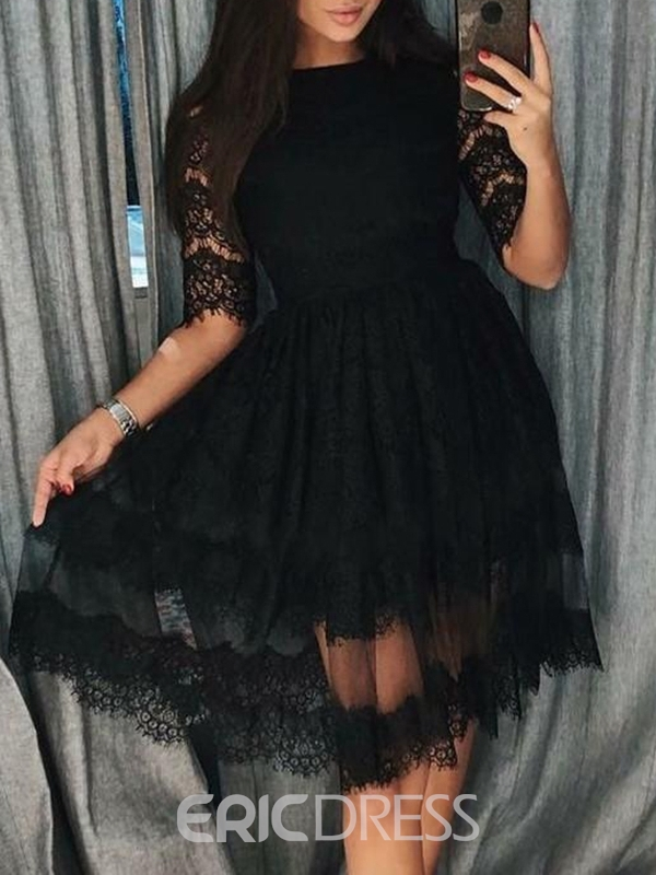Ericdress Jewel A-Line Lace Half Sleeves Homecoming Dress