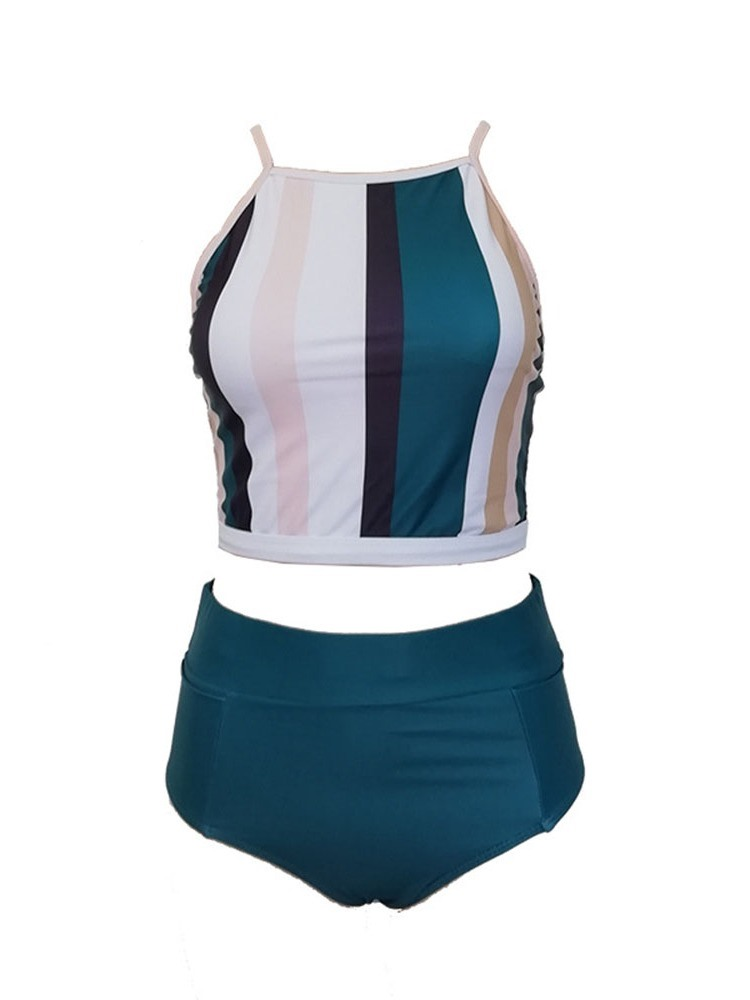 Ericdress Tankini Set Stripe Color Block Stretchy Swimsuit