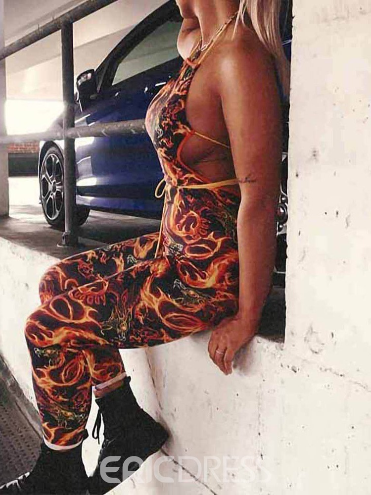 Ericdress Backless Print Sexy Pencil Pants Skinny Jumpsuit