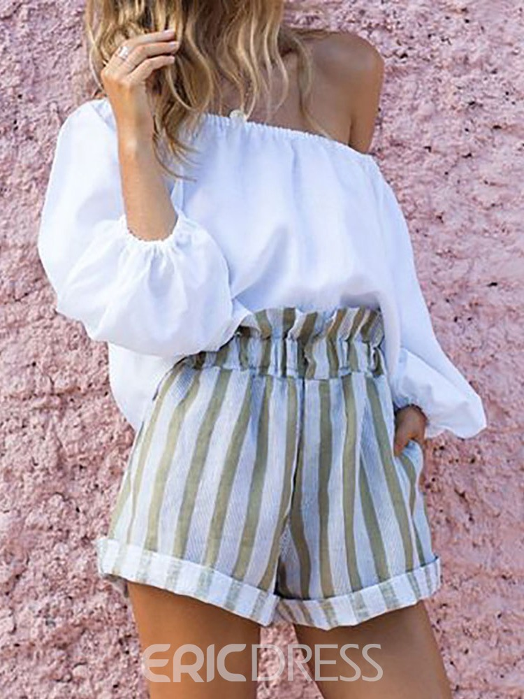 Ericdress Pleated Stripe Pullover Off Shoulder Women's Suit T-Shirt And Shorts Two Piece Sets