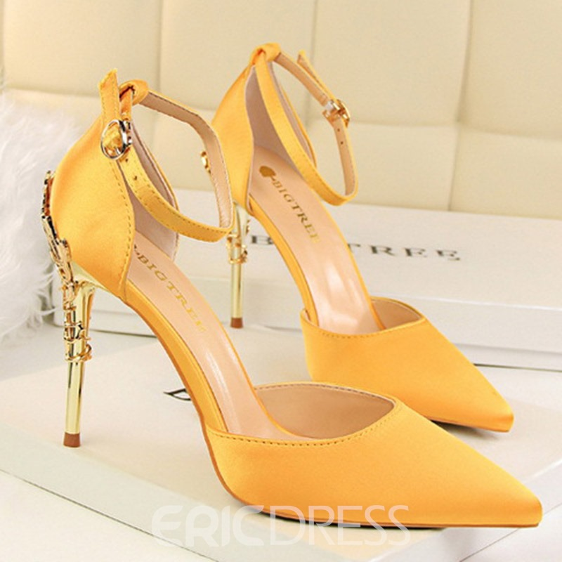 Ericdress Silk Fabric Stiletto Heel Pointed Toe Slip-On Women's Pumps