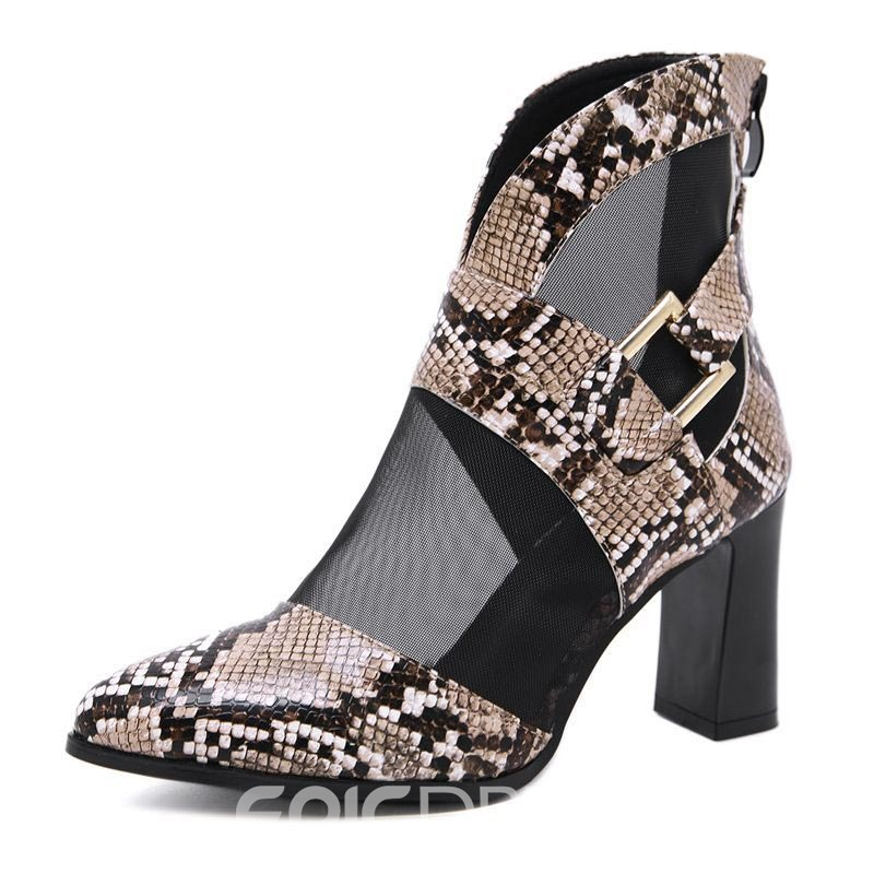 Ericdress Patchwork Chunky Heel Pointed Toe Women's Ankle Boots