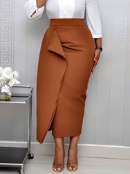Ericdress Bodycon Plain Mid-Calf High Waist OL Skirt