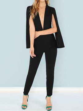 Ericdress Black Split Dressy Slim Pencil Pants Jumpsuit