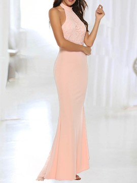 Ericdress Bodycon Elegant Sleeveless Floor-Length Backless Lace Maxi Dress