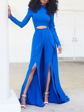 Ericdress Split Full Length Plain High Waist Slim Jumpsuit