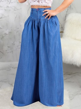Ericdress Plain Pleated Wide Legs Loose High Waist Jeans